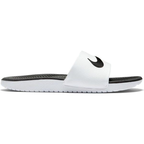 Šlapky Nike Kawa Slide GS/PS 819352-100 White/Black biele, pohodlné šlapky vybavené technológiou SolarSoft, Squeeze Me. Štýlové bielo-čierne prevedenie.