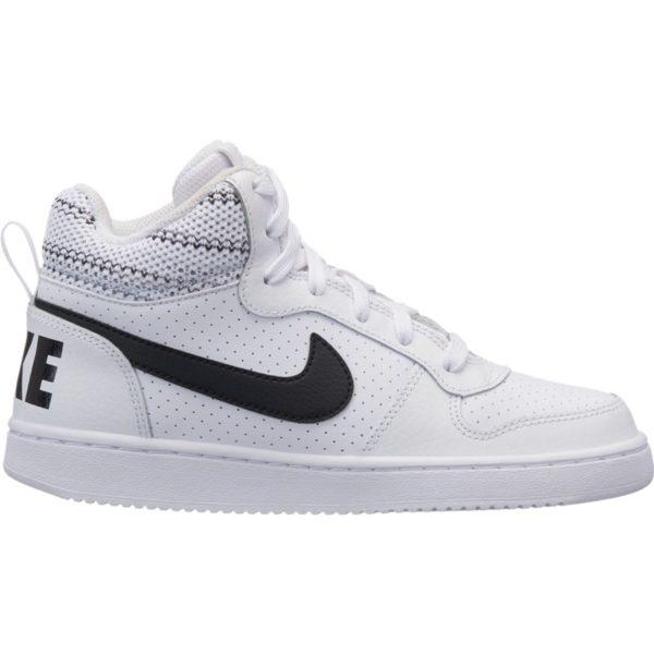 Obuv Nike Court Borough Mid Se GS 918340 100 White biela junior, elegantné vysoké topánky NIKE. Väčšiu časť topánok tvorí prírodná koža, ekologická koža